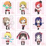 >:) 6+girls :d :o absurdres aqua_ribbon arm_up ayase_eli ball bangs black_boots black_bow black_hat black_legwear blonde_hair blue_eyes blue_hair blush bokura_wa_ima_no_naka_de boots bow brown_eyes brown_hair checkered checkered_background chibi chintara10 cigar_box commentary_request diabolo earrings english eyebrows_visible_through_hair fingerless_gloves gloves hair_bow hair_ornament hair_scrunchie hat highres holding hoshizora_rin idol jewelry juggling koizumi_hanayo kousaka_honoka leg_garter long_hair looking_at_viewer love_live! love_live!_school_idol_project low_twintails minami_kotori mini_hat mini_top_hat motion_lines multiple_girls neck_ribbon necktie nishikino_maki one_side_up open_mouth orange_hair outstretched_arm ponytail puffy_short_sleeves puffy_sleeves purple_hair red_bow red_gloves redhead ribbon ring scrunchie shirt short_sleeves skirt sleeveless sleeveless_shirt smile sonoda_umi staff star star_hair_ornament striped striped_necktie suspenders swept_bangs thigh-highs top_hat toujou_nozomi twintails violet_eyes white_shirt yazawa_nico yellow_eyes