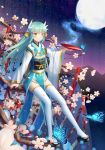 1girl alcohol aqua_hair bangs blue_kimono blurry blush branch butterfly cherry_blossoms closed_mouth commentary_request cup depth_of_field eyebrows_visible_through_hair fate/grand_order fate_(series) floating_hair full_body full_moon glowing_butterfly gradient_sky hair_between_eyes hair_ornament highres horns in_tree japanese_clothes ji_dao_ji kimono kiyohime_(fate/grand_order) light_particles long_hair long_sleeves looking_away moon mountain night night_sky obi pelvic_curtain sakazuki sake sandals sash shiny shiny_hair sitting sky smile solo spilling star_(sky) starry_sky thigh-highs tree white_legwear wide_sleeves yellow_eyes