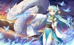 1girl aqua_hair bangs blue_kimono butterfly closed_mouth clouds cloudy_sky commentary_request dragon eyebrows_visible_through_hair fan fate/grand_order fate_(series) furisode glowing glowing_butterfly glowing_eyes gradient_sky hair_ornament highres holding holding_fan horns japanese_clothes ji_dao_ji kimono kiyohime_(fate/grand_order) legs_together long_hair long_sleeves looking_away magic mountain obi ocean orange_sky outdoors outstretched_arm sash shiny shiny_hair sky smile standing star_(sky) starry_sky thigh-highs twilight white_legwear wind yellow_eyes
