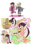 +_+ 2girls aori_(splatoon) bike_shorts black_kimono black_shorts box brown_eyes casual character_name closed_eyes comic cousins domino_mask fangs green_shirt hand_holding hotaru_(splatoon) japanese_clothes kimono long_hair looking_back mask multiple_girls open_mouth oven_mitts purple_kimono purple_shirt sandals shirt short_hair shorts silent_comic single_vertical_stripe sitting smile splatoon standing standing_on_one_leg sweat t-shirt tentacle_hair wong_ying_chee younger