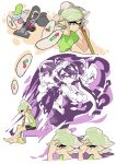 +_+ 2girls ankle_boots aori_(splatoon) arms_behind_back back-to-back bed black_boots black_hair blue_shorts boots casual cellphone comic cousins detached_collar domino_mask earrings food food_on_head gloves green_legwear green_shirt grey_hair holding holding_cellphone holding_phone hotaru_(splatoon) indoors inkling jewelry long_hair mask mole mole_under_eye multiple_girls night night_sky object_on_head phone pointy_ears purple_shirt purple_shorts shirt short_hair short_jumpsuit shorts silent_comic sitting sky smartphone splatoon standing sushi t-shirt tentacle_hair white_gloves wong_ying_chee