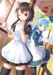 1girl 2girls :3 :o ;) alternate_costume apron aqua_(konosuba) bangs bat_wings black_dress black_legwear blue_dress blue_eyes blue_hair blue_ribbon broom brown_hair cake cherry_blossoms chomusuke closed_mouth commentary_request cup day dress enmaided eyebrows_visible_through_hair fang finger_to_mouth food frilled_dress frills fruit hair_rings highres holding holding_broom holding_tray indoors ji_dao_ji juliet_sleeves kono_subarashii_sekai_ni_shukufuku_wo! latin_cross long_hair long_sleeves looking_at_another looking_at_viewer looking_to_the_side maid megumin multiple_girls neck_ribbon one_eye_closed pantyhose poster_(object) puffy_short_sleeves puffy_sleeves red_eyes ribbon shiny shiny_hair short_hair_with_long_locks short_sleeves skindentation smile solo standing standing_on_one_leg strawberry sunlight teacup teapot thigh-highs tray white_apron window wings wooden_wall wrist_cuffs yellow_eyes