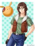 1boy brown_hair curly_hair denim green_eyes gundam gundam_00 hand_in_pocket haro jacket jeans komugikomix looking_at_viewer neil_dylandy pants robot smile