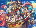 aqua_eyes bell black_eyes black_hair blue_sky boat brown_eyes brown_hair cat character_request closed_eyes cotton_candy dango dragon drum drumsticks eastern_dragon fireworks fish fishing_rod food full_moon goldfish hakudouji hat highres horns ichimokuren_(onmyoji) instrument jingle_bell kerokeroyeah kodama lantern mask moon octopus ofuda onmyoji open_mouth outdoors paper_lantern pointy_ears prajna_(onmyoji) sandals shirodouji sky snake tagme tate_eboshi wagashi watercraft white_hair wide_sleeves yan_liang_(xiao_bai) yellow_eyes zashiki-warashi_(onmyoji)