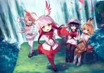 4girls :d ainy77 alpaca_suri_(kemono_friends) alpaca_tail animal_ears bangs black_hair black_legwear blonde_hair blue_eyes blunt_bangs boots bow bowtie bush clapping commentary_request cup day elbow_gloves fur_collar fur_trim gloves grass hair_over_one_eye hand_on_own_chest hat hat_feather head_wings high-waist_skirt japanese_crested_ibis_(kemono_friends) kaban_(kemono_friends) kemono_friends long_hair long_sleeves looking_at_viewer multicolored_hair multiple_girls music nature open_mouth outdoors outstretched_arm pantyhose pantyhose_under_shorts petals plate pleated_skirt pleated_sleeves pouring print_gloves print_legwear print_skirt red_gloves red_legwear red_shirt red_skirt redhead serval_(kemono_friends) serval_ears serval_print serval_tail shirt shoes short_hair shorts singing sitting skirt sleeveless sleeveless_shirt smile tail teacup teapot thigh-highs water waterfall white_hair yellow_eyes