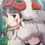 1girl bare_arms blue_eyes brown_hair closed_mouth commentary_request earrings facepaint facial_mark fur headband jewelry mask mononoke_hime necklace san short_hair solo studio_ghibli tooth_necklace yazwo