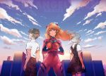 1boy 2girls ayanami_rei blue_eyes blue_hair bodysuit brown_hair ikari_shinji long_hair multiple_girls naguri neon_genesis_evangelion orange_hair pilot_suit plugsuit red_bodysuit school_uniform short_hair souryuu_asuka_langley
