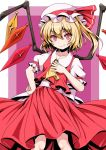 1girl ascot blonde_hair fang flandre_scarlet hat kimagure_blue loli looking_at_viewer mob_cap puffy_short_sleeves puffy_sleeves red_eyes short_hair short_sleeves side_ponytail smile solo standing touhou wings