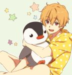 1boy bird blonde_hair free! hazuki_nagisa looking_at_viewer male_focus minagawa open_mouth penguin red_eyes smile star stuffed stuffed_animal stuffed_penguin stuffed_toy