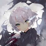 1girl assassin_of_black backlighting bandage bandaged_arm bangs black_cloak burning_eye cloak closed_mouth expressionless eyebrows_visible_through_hair fate/grand_order fate_(series) fog glint green_eyes hair_between_eyes hand_up head_tilt holding holding_knife holding_weapon knife looking_at_viewer multicolored multicolored_eyes saru scar scar_across_eye scar_on_cheek shiny shiny_hair short_hair silver_hair slit_pupils solo torn_cloak tsurime upper_body weapon wind yellow_eyes