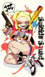 1girl baseball_bat blonde_hair blue_hair bracelet breasts choker copyright_name dc_comics english fingerless_gloves fishnets gloves green_eyes grin gun handgun harley_quinn heart high_heel_boots jewelry koutamii looking_at_viewer makeup multicolored_hair nail_polish redhead revolver sharp_teeth single_glove skull_and_crossbones smile solo speech_bubble spiked_bracelet spikes suicide_squad tally teeth thighs twintails weapon