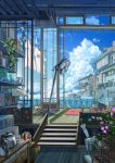 absurdres book bookshelf bottle bucket clothes clothes_pin clothesline clouds coca-cola day drawer fan fish_tank flower graphite_(medium) highres microwave no_humans open_sign original plant potted_plant remosse512 scenery shelf sign sky stool table tatami toaster traditional_media