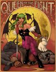1girl 2boys ahoge art_nouveau bat_wings belger boots breasts bridal_gauntlets capcom cat cleavage crossover demon_girl felicia felicia_(cat) final_fight green_eyes green_hair green_nails head_wings heart_cutout katana large_breasts legs_crossed leotard lipstick long_hair m_bison makeup morrigan_aensland multiple_boys nail_polish pantyhose petting planted_sword planted_weapon print_legwear purple_legwear sitting sitting_on_person solo_focus street_fighter succubus sword the_phantom_lim toned vampire_(game) weapon wings yellow_sclera