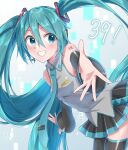 1girl 39 absurdly_long_hair aqua_eyes aqua_hair aqua_nails aqua_neckwear bare_shoulders bent_over black_legwear black_skirt black_sleeves commentary detached_sleeves floating_hair foreshortening from_side grey_shirt grin hair_ornament hatsune_miku headphones headset highres long_hair looking_at_viewer miniskirt nail_polish necktie outstretched_arms pleated_skirt reaching_out shirt shoulder_tattoo skirt sleeveless sleeveless_shirt smile solo supo01 tattoo thigh-highs twintails very_long_hair virtual_reality vocaloid zettai_ryouiki
