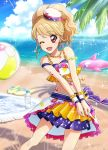 1girl aikatsu! aikatsu!_photo_on_stage!! anchor_earrings anchor_symbol ball bangs beach beachball blonde_hair chains clouds day earrings flip-flops frills hat highlights highres inflatable_dolphin inflatable_toy jewelry multicolored_hair natsuki_mikuru necklace ocean one_eye_closed open_mouth palm_tree pink_eyes ponytail sailor_hat sand sandals shirt skirt sky sleeveless sleeveless_shirt smile sunlight tree water