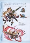 1girl absurdres ankle_boots bare_shoulders black_boots blonde_hair blue_eyes boots breasts chainsaw chainsword character_name chibi crazy_eyes crazy_smile cross-laced_footwear doraf empty_eyes full_body granblue_fantasy grin hair_ornament hairclip hallessena hat highres holding horns knees_together_feet_apart lace-up_boots long_hair looking_at_viewer low_twintails medium_breasts minaba_hideo miniskirt official_art over-kneehighs plaid plaid_skirt pointy_ears red_skirt scan simple_background skirt smile thigh-highs twintails under_boob underbust uneven_eyes white_legwear zettai_ryouiki