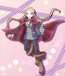 1girl ahoge bag blonde_hair blue_eyes boots braid capelet cheryi eponine_(fire_emblem_if) fire_emblem fire_emblem_if hairband long_hair male_my_unit_(fire_emblem_if) my_unit_(fire_emblem_if) open_mouth solo star stuffed_toy twin_braids zero_(fire_emblem_if)