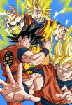 3boys black_eyes black_hair blonde_hair blue_background clone dougi dragon_ball energy fighting_stance green_eyes grin highres long_hair looking_at_viewer multiple_boys official_art open_mouth outstretched_arms outstretched_hand short_hair smile son_gokuu spiky_hair super_saiyan super_saiyan_3 very_long_hair wristband