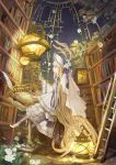 1girl absurdly_long_hair absurdres blonde_hair book bookshelf candlestand chair from_side graphite_(medium) highres ladder lantern long_hair night night_sky open_book original remosse512 sitting sky star_(sky) starry_sky traditional_media very_long_hair