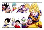 2girls 6+boys android_18 black_eyes black_hair blonde_hair blue_eyes blue_hair bulma cape capsule crossed_arms dougi dragon_ball dragonball_z dress earrings fighting_stance gloves green_eyes green_skin grin hand_on_forehead hands_on_own_cheeks hands_on_own_face happy highres jacket jewelry kuririn looking_at_viewer multiple_boys multiple_girls namek official_art open_mouth panels pants piccolo pointy_ears purple_hair red_shirt salute scarf serious shirt short_hair smile son_gohan son_gokuu son_goten super_saiyan tongue tongue_out trunks_(dragon_ball) turban vegeta white_background white_pants wristband