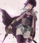 1girl alternate_costume armor bangs bare_shoulders belt blunt_bangs boku_no_hero_academia breasts cape cherry_blossoms choker earplugs jirou_kyouka looking_at_viewer pants purple_hair short_hair shoulder_armor simple_background smile solo sword vambraces violet_eyes weapon white_background