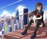 1girl bangs black_hair black_legwear black_serafuku black_skirt blue_sky building city cityscape closed_mouth clouds collarbone commentary_request condensation_trail day flag full_body grass ji_dao_ji loafers long_hair looking_at_viewer neckerchief original outdoors railing red_eyes red_neckerchief school_uniform serafuku shadow shiny shiny_hair shoes short_sleeves sitting skirt sky skyscraper smile solar_panel solo stairs straight_hair striped striped_skirt thigh-highs wind
