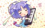 1girl :d =_= animal_ears artist_name blush bow cat_ears cat_tail chibi cinnamon_(sayori) closed_eyes eyebrows_visible_through_hair gloves hair_ribbon highres instrument long_hair nekopara open_mouth ponytail puffy_short_sleeves puffy_sleeves purple_hair ribbon sayori short_hair short_sleeves smile solo synthesizer tail tail_bow tears wallpaper |d