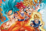 5boys blonde_hair blue_eyes blue_hair clenched_hand dougi dragon_ball dragon_ball_super dragonball_z green_eyes grin kamehameha long_hair looking_at_viewer multiple_boys multiple_persona official_art open_mouth outstretched_arm outstretched_hand red_eyes redhead serious short_hair smile son_gokuu sparkle_background spiky_hair super_saiyan super_saiyan_2 super_saiyan_3 super_saiyan_blue super_saiyan_god very_long_hair wristband
