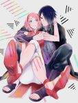 1boy 1girl 39susaku arm_around_shoulder black_hair bracelet cloak couple facial_mark forehead_mark green_eyes hair_over_one_eye haruno_sakura high_heels highres husband_and_wife jewelry naruto open_toe_shoes parted_lips pink_hair sandals shoes sitting smile uchiha_sasuke
