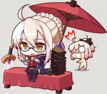 2girls ahoge black_bow blonde_hair bow chibi eyebrows_visible_through_hair fate/grand_order fate_(series) food glasses hair_bow heroine_x heroine_x_(alter) looking_at_another multiple_girls open_mouth saber sakura_saber short_hair sitting sword table takoyaki umbrella weapon yellow_eyes yuki_shiro