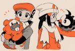 1boy 1girl animal_on_arm beanie bidoof cabbie_hat hair_ornament hairclip hat hikari_(pokemon) kouki_(pokemon) monochrome pokemon pokemon_(creature) pokemon_(game) pokemon_dppt scarf smile starly tan_background
