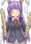 1girl ^_^ animal_ears baguette blazer bread breasts closed_eyes food gaoo_(frpjx283) highres jacket necktie pun purple_hair rabbit_ears reisen_udongein_inaba skirt solo touhou translated
