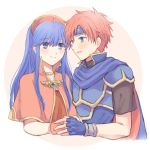 1boy 1girl armor blue_eyes blue_hair blush cape couple dress fire_emblem fire_emblem:_fuuin_no_tsurugi gloves hat headband hetero lilina long_hair redhead roy_(fire_emblem) short_hair simple_background white_background wspread