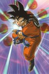 1boy black_eyes black_hair boots dougi dragon_ball dragon_ball_(object) energy energy_ball fighting_stance kamehameha looking_at_viewer official_art open_mouth purple_background serious short_hair solo son_gokuu spiky_hair wristband