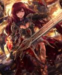 1girl cygames gloves long_hair official_art red_eyes redhead scarlet_sabreur shadowverse sword weapon