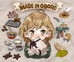 1girl ahoge baking_sheet bandage bandaged_fingers bandaid_on_cheek blush bow bowl brown_bow brown_eyes brown_hair brown_ribbon cacao_fruit chocolate cooking crab english gift grey_background ingredients jacket kantai_collection looking_at_viewer mortar oboro_(kantai_collection) otoufu pestle picking_fruit planting progression ribbon scarf seedling short_hair solo star tray tree watering_can