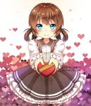 1girl blue_eyes blush brown_hair deviantart_username eyebrows_visible_through_hair gift heart hey_xander highres holding holding_gift looking_at_viewer original ribbon short_hair short_twintails solo twintails watermark web_address yellow_ribbon