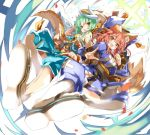 2girls animal_ears blush brown_eyes commentary_request fate/extra fate/grand_order fate_(series) fox_ears green_eyes green_hair horns inazuma_kick kiyohime_(fate/grand_order) multiple_girls open_mouth redhead shino_(eefy) tamamo_(fate)_(all) tamamo_no_mae_(fate)