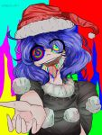 :d :p black_clothes blue_hair doremy_sweet drugs hat highres milkyteaart multicolored multicolored_background multicolored_eyes open_mouth red_hat smile tongue tongue_out