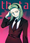 1girl absurdres blonde_hair blue_eyes character_name formal highres hunter_x_hunter short_hair solo suit theta_(hunter_x_hunter) tie