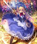 1girl alice_(shingeki_no_bahamut) artist_request blonde_hair blue_eyes boots card clock corset crown cygames dress flower hairband hand_on_hip holding holding_sword holding_weapon lantern long_hair official_art petals playing_card pocket_watch pointing_sword ribbon shadowverse shingeki_no_bahamut sword watch weapon