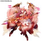 1girl :o angel angel_wings bank_of_innovation black_gloves blue_eyes breasts cleavage cryptract dress fire frilled_dress frills full_body gloves halo lance looking_to_the_side medium_breasts official_art pink_hair polearm solo twintails uriel_(cryptract) weapon white_dress wings