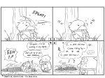 4koma admiral_(kantai_collection) bird comic digging english greyscale guin_guin highres hole kantai_collection monochrome non-human_admiral_(kantai_collection) penguin ribbon scarf shigure_(kantai_collection) shovel skirt sleeping worktool zzz
