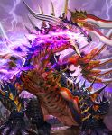 claws clouds cloudy_sky cygames dragon extra_eyes fire from_below glowing glowing_eyes jabberwock_(shingeki_no_bahamut) light_particles lightning monster no_humans official_art open_mouth pink_eyes purple_fire rock scales shadowverse sharp_teeth shingeki_no_bahamut sky spikes takayama_toshiaki teeth