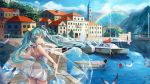 1girl aqua_hair bird boat building dress green_eyes hatsune_miku highres l.bou long_hair montenegro rainbow seagull solo twintails umbrella very_long_hair vocaloid watercraft yacht