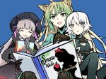 3girls ahoge alice_in_wonderland animal_ears archer_of_red assassin_of_black belt black_dress black_gloves black_hat blonde_hair blue_background book cat_ears claws closed_eyes commentary_request dress elbow_gloves english fate/grand_order fate_(series) frills gloves green_eyes green_hair grey_eyes hat holding holding_book long_hair multicolored_hair multiple_girls nursery_rhyme_(fate/extra) open_book open_mouth reading scar scar_across_eye short_hair sleeveless smile snow_white snow_white_and_the_seven_dwarfs thigh-highs white_hair yuuma_(u-ma)