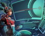 1girl computer cyber cyberpunk netrunner twintails