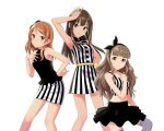 3girls arm_up belt black_bow black_hairband black_nails black_ribbon black_shirt black_skirt bow bracelet breasts brown_eyes brown_hair cleavage collarbone crop_top dress earrings green_eyes grey_legwear hair_bow hair_ribbon hairband hand_on_hip highres houjou_karen idolmaster idolmaster_cinderella_girls jewelry kamiya_nao layered_skirt long_hair looking_at_viewer medium_breasts midriff miniskirt multiple_girls nail_polish navel nidoro ribbon shibuya_rin shirt short_dress simple_background skirt sleeveless sleeveless_dress smile standing stomach striped striped_shirt thigh-highs triad_primus vertical-striped_dress vertical-striped_shirt vertical-striped_skirt vertical_stripes very_long_hair white_background