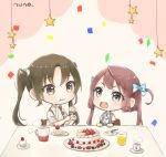 2girls :d artist_name asagumo_(kantai_collection) ascot blush bow brown_eyes brown_hair cake confetti cup cupcake detached_sleeves drink drinking_glass food fork green_hair grey_eyes hair_bow hair_rings kantai_collection long_hair multiple_girls nuno_(pppompon) open_mouth school_uniform shirt short_sleeves skirt smile star steam string suspender_skirt suspenders teeth twintails very_long_hair white_shirt zuikaku_(kantai_collection)
