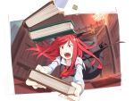 1girl asutora black_shoes black_skirt book chandelier checkered checkered_floor fangs head_wings high_heels indoors koakuma library long_sleeves necktie open_mouth red_eyes red_necktie redhead shoes skirt solo sweatdrop tongue touhou tripping wings